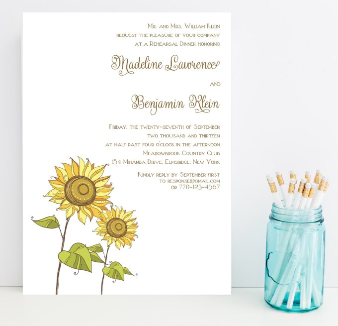 sunflower rehearsal dinner invitations