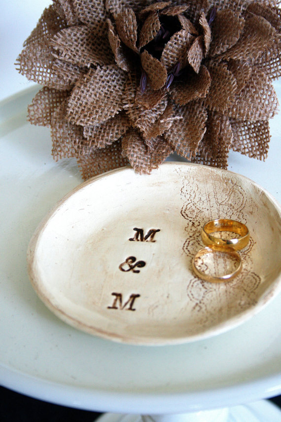 wedding ring dish with stamped initials by hawthornehill | 41 Beautiful Rustic Ring Pillows Etsy | http://emmalinebride.com/rustic/ring-pillows-etsy-weddings/