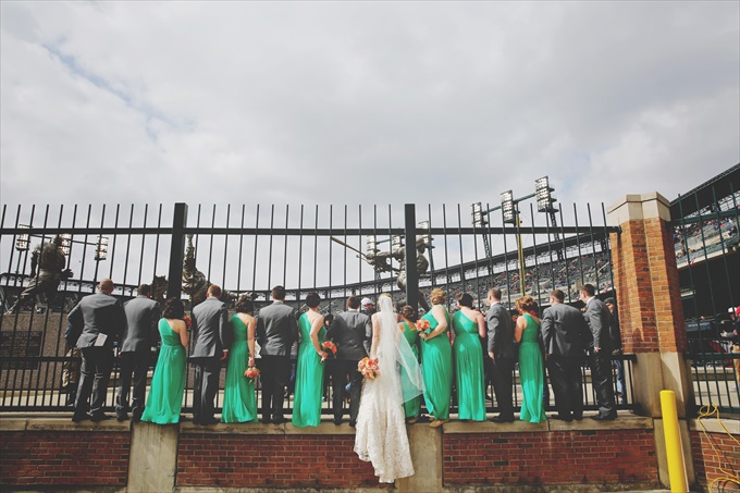 wedding_party_tigers_stadium_baseball Downtown Detroit Wedding - http://emmalinebride.com/real-weddings/a-beautiful-downtown-detroit-wedding-nick-jeannine/ | Michigan wedding photographer - The Camera Chick