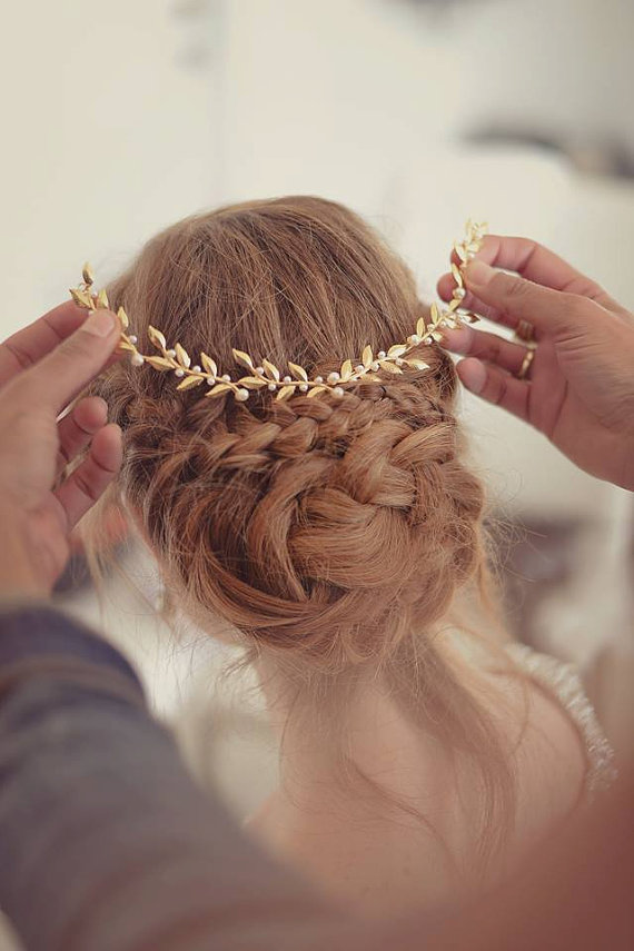 braided hair with crown | 50+ Best Bridal Hairstyles Without Veil | http://emmalinebride.com/bride/best-bridal-hairstyles
