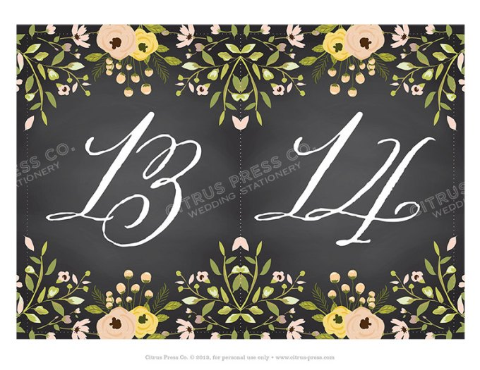 Chalkboard Table Numbers for Weddings | By Citrus Press Co. | http://emmalinebride.com/wedding/chalkboard-ceremony-program/ ‎