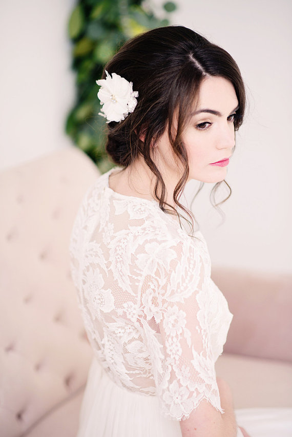 chiffon flower headpiece | 50+ Best Bridal Hairstyles Without Veil | http://emmalinebride.com/bride/best-bridal-hairstyles