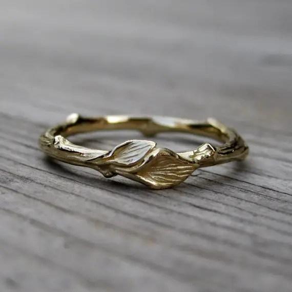 Mountain Wedding Ring 2 New gold rustic wedding band