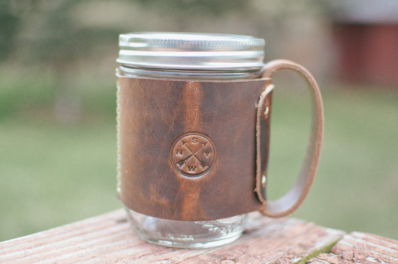 leather mason jar cozy by samwellleather | via 40+ Best Leather Groomsmen Gifts for Weddings | http://emmalinebride.com/gifts/leather-groomsmen-gifts/