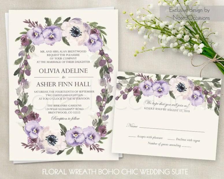 purple floral lavender free wedding invitations