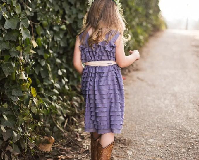ruffle flower girl dress purple