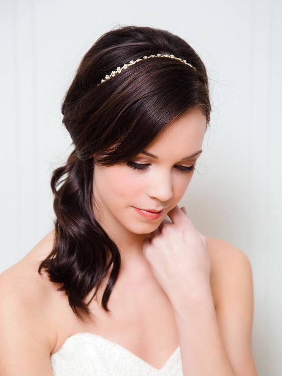 small pearl headband | 50+ Best Bridal Hairstyles Without Veil | http://emmalinebride.com/bride/best-bridal-hairstyles