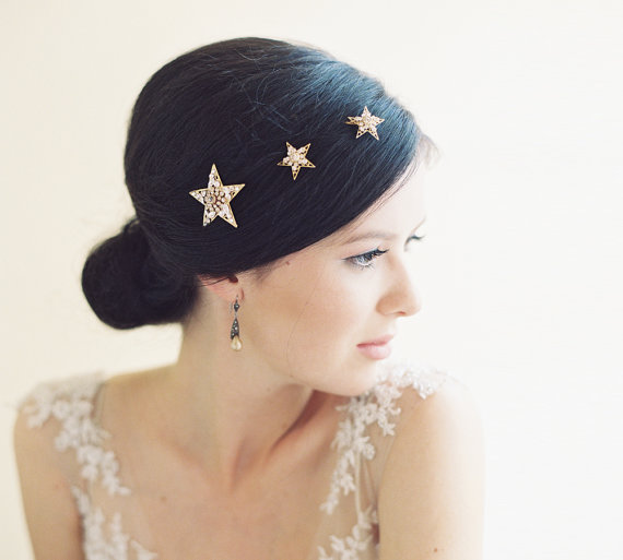 star hair pins | 50+ Best Bridal Hairstyles Without Veil | http://emmalinebride.com/bride/best-bridal-hairstyles