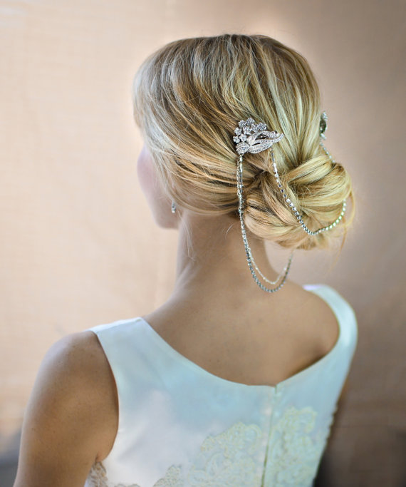updo with chain | 50+ Best Bridal Hairstyles Without Veil | http://emmalinebride.com/bride/best-bridal-hairstyles