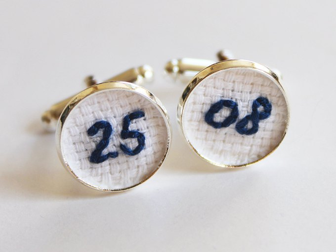 wedding date cufflinks