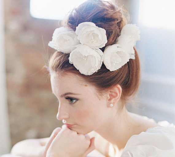 white peonies bridal hairstyle | 50+ Best Bridal Hairstyles Without Veil | http://emmalinebride.com/bride/best-bridal-hairstyles