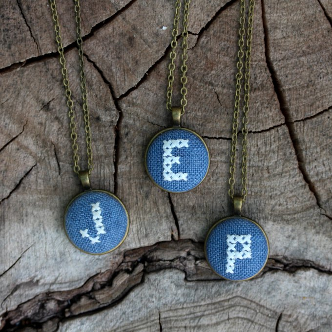 blue initial necklaces | Hand Stitched Initial Necklaces - http://emmalinebride.com/wedding/hand-stitched-initial-necklaces/