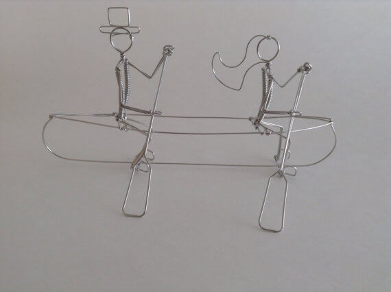 canoe bride and groom wire cake toppers