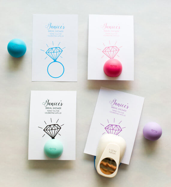 eos lip balm holder favors by maydetails | via 21 Totally Fun Ring Themed Bridal Shower Ideas → http://emmalinebride.com/planning/ring-themed-bridal-shower/