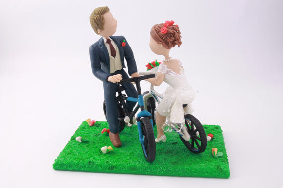 figurine cake toppers riding bikes 2