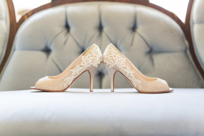 gold bridal heels with lace | bridal heels lace embellishment