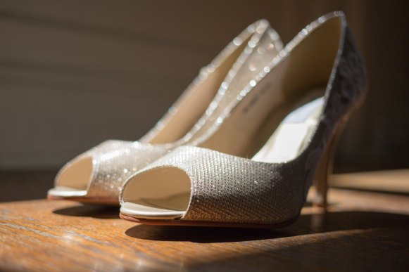 gold wedding heels for the bride
