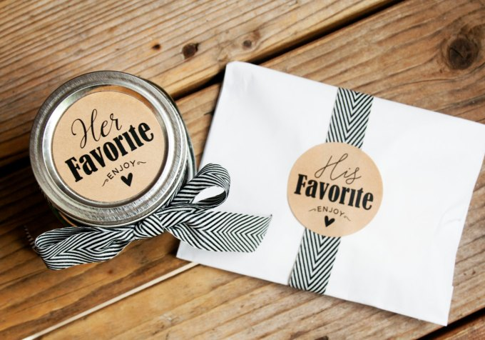 his and hers wedding favors labels