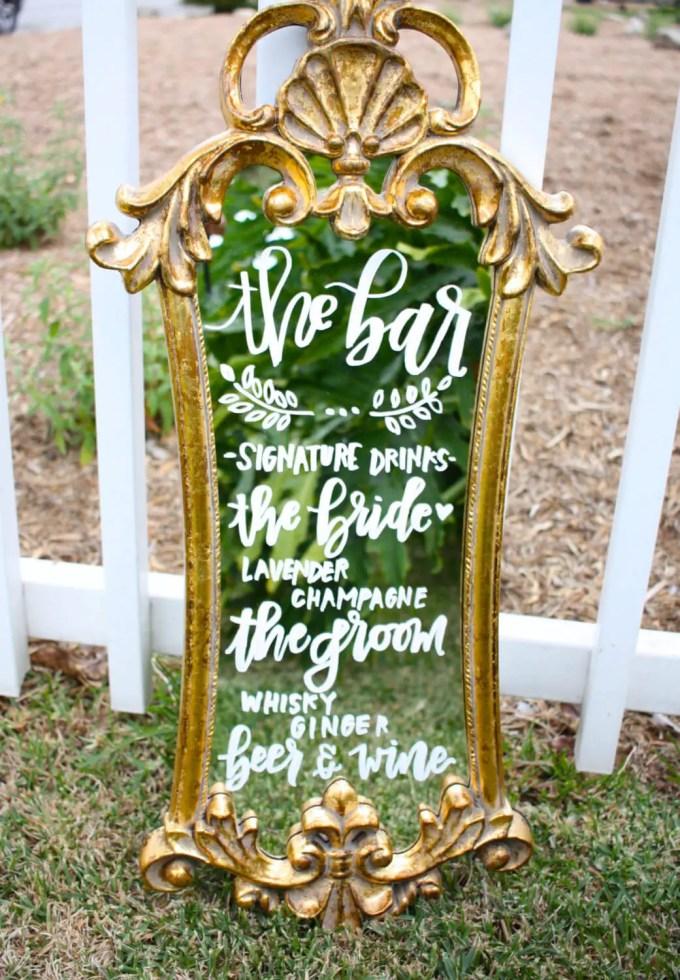 mirror bar menu sign | by sugar and chic | via http://emmalinebride.com/wedding/mirror-bar-menu/