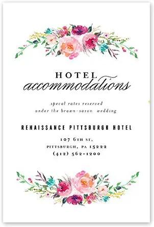 bohemian floral wedding invitations accommodations