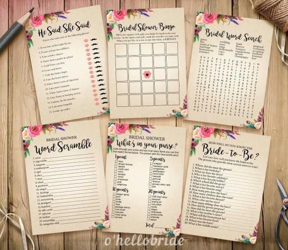 boho floral bridal shower games by ohellobride