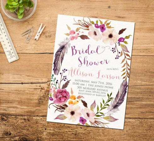 bridal shower boho floral invitation