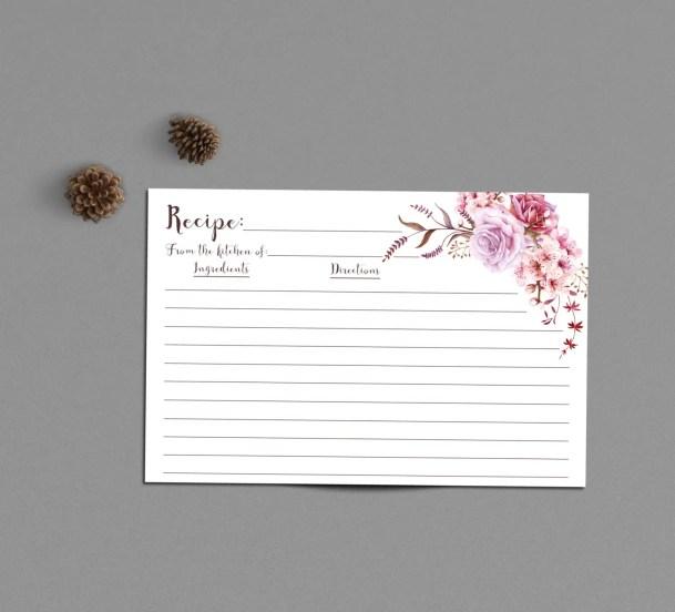 bridal shower boho floral recipe cards by INVITEDbyAudriana