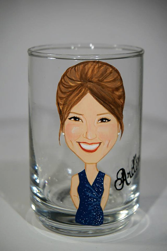 bridesmaid shot glasses custom painted