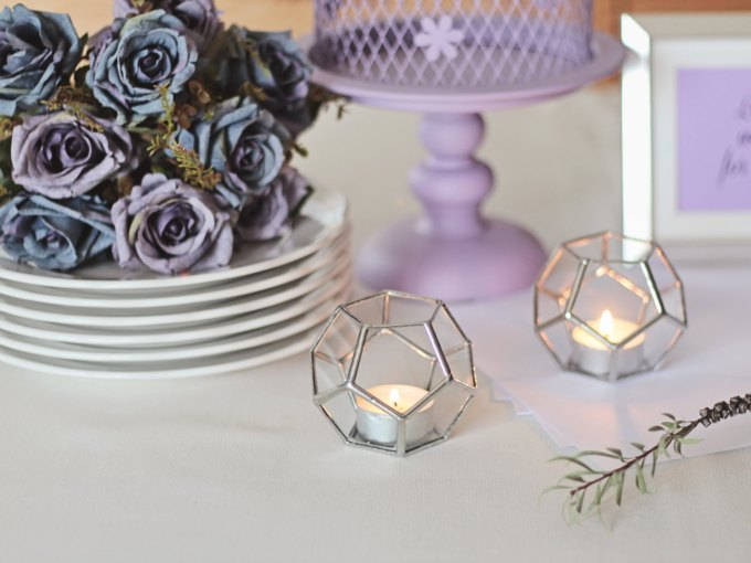 geometric candle holder glass