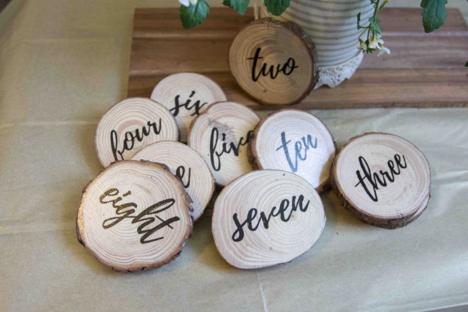 hand made wood slice table numbers