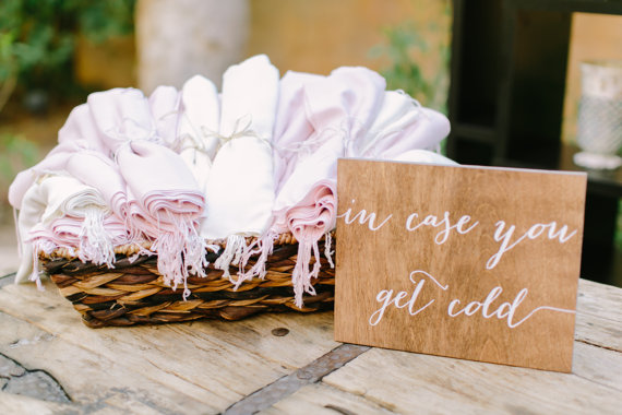in case you get cold sign by paperandpineco via 26 Things Guests Love at Weddings from A to Z | http://emmalinebride.com/planning/things-guests-love-at-weddings/ 