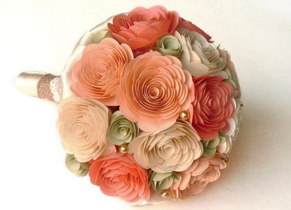 peach and sage bouquet by loveaccented | via Sage Wedding Ideas from http://emmalinebride.com/color/sage-green-wedding-ideas/