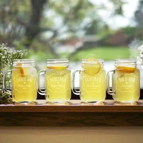 personalized country bridesmaid mason jars