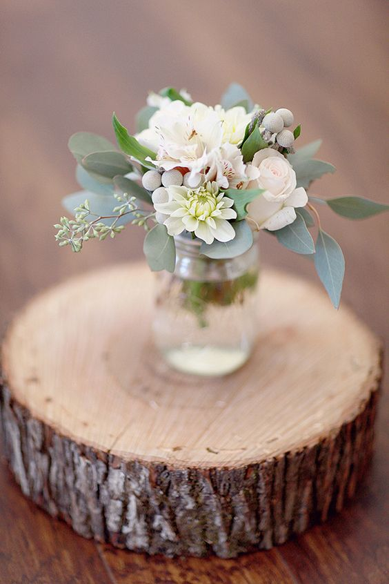 sage centerpiece | via Sage Wedding Ideas from http://emmalinebride.com/color/sage-green-wedding-ideas/