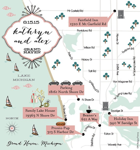 wedding map with directions by cwdesigns2010 via 26 Things Guests Love at Weddings from A to Z   http://emmalinebride.com/planning/things-guests-love-at-weddings/ 