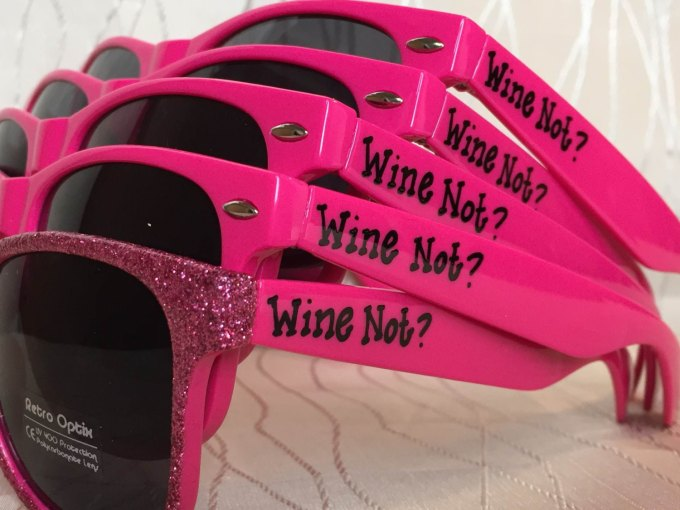 wine bachelorette party sunglasses wine not