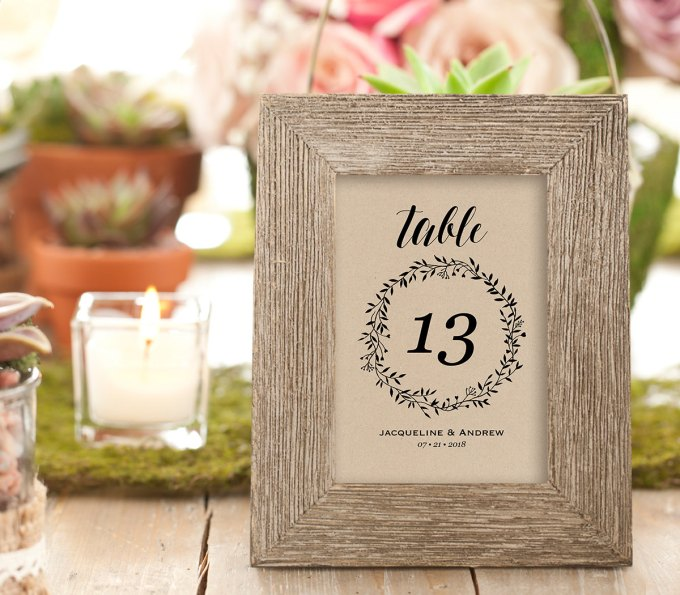 wreath printable rustic table number ideas by MintyPaperieShop