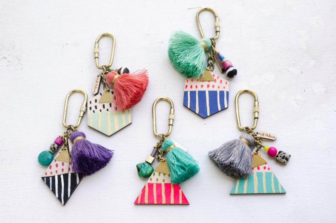 Cute Boho Keychains with Tassels by JillMakes via 21 Festive Tassel Wedding Decorations & Accessories | http://emmalinebride.com/themes/tassel-wedding-decorations/