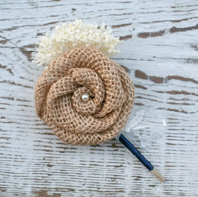 burlap dried flower boutonniere