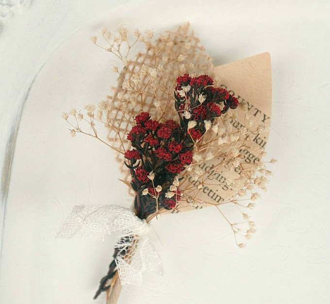 dried flower book page boutonniere