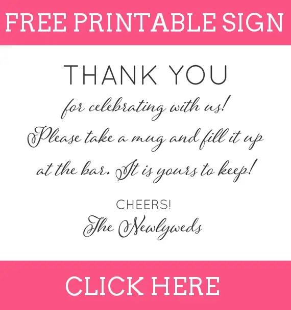 FREE Printable Thank You for Celebrating With Us Favors Sign for Copper Mug Favors - How to DIY: http://emmalinebride.com/favors/copper-mug-wedding-favors/
