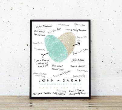 blue-and-gold-thumbprint-guest-book-poster-in-black-frame-and-signed-by-wedding-guests