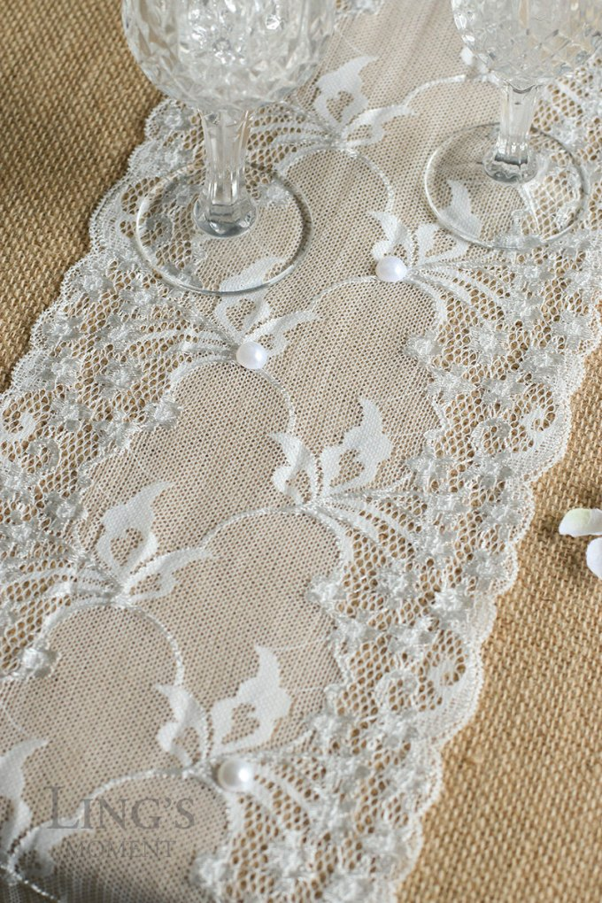 Lace and Burlap Table Runner by Ling's Moment - 100 Ways to Save Money on Your Wedding | via Emmaline Bride | http://bit.ly/2dtrgoW