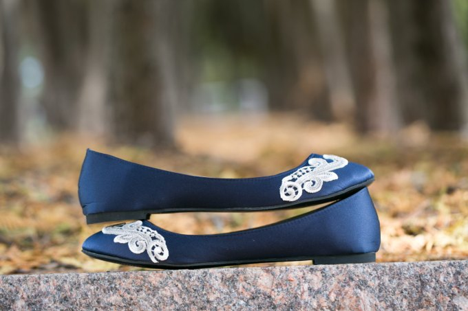 Navy Blue Shoes with Lace by Walkin On Air | 21 Wedding Flats That Will Look Beautiful for the Bride - http://emmalinebride.com/bride/wedding-flats-bride/