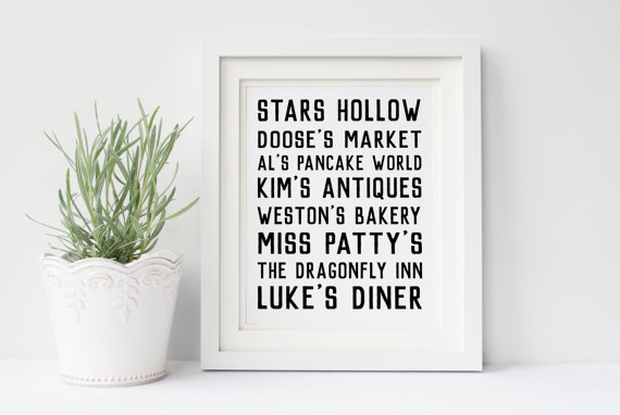 Stars Hollow art print via 50+ Best Gilmore Girls Gift Ideas http://emmalinebride.com/gifts/50-best-gilmore-girls-gift-ideas/