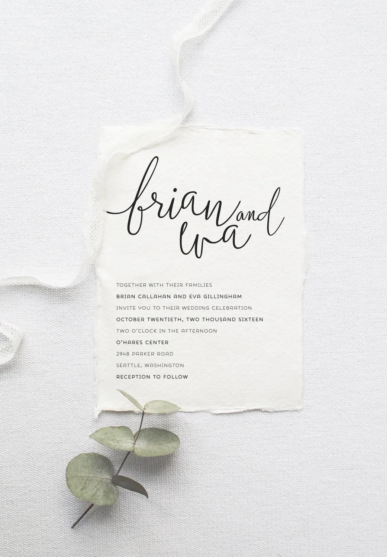 Modern calligraphy printable wedding invitation by Splash of Silver