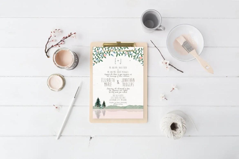 Mountain themed printable wedding invitation by Splash of Silver