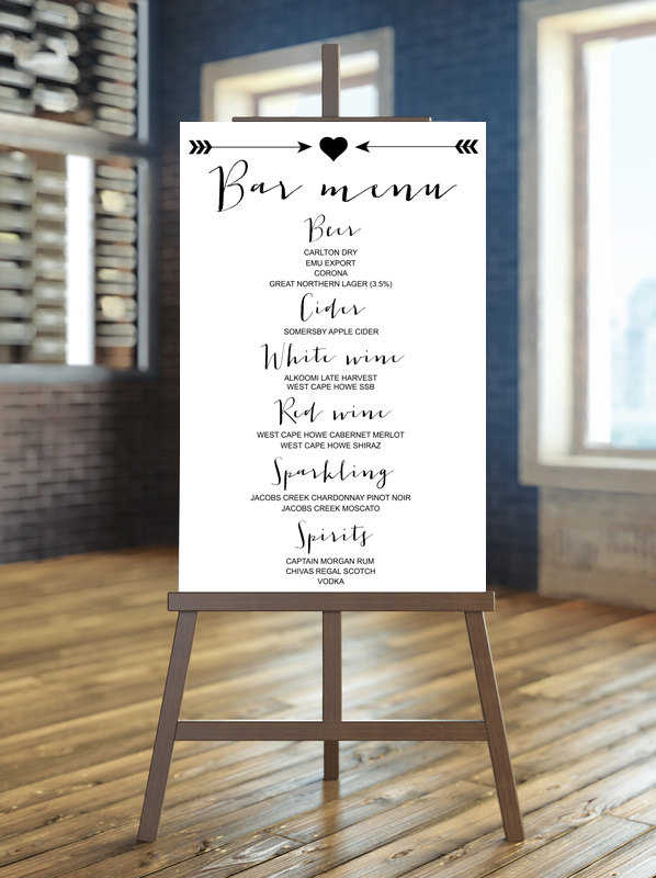 bar menu | via Heart and Arrow Wedding Ideas: http://emmalinebride.com/themes/heart-and-arrow-wedding-ideas