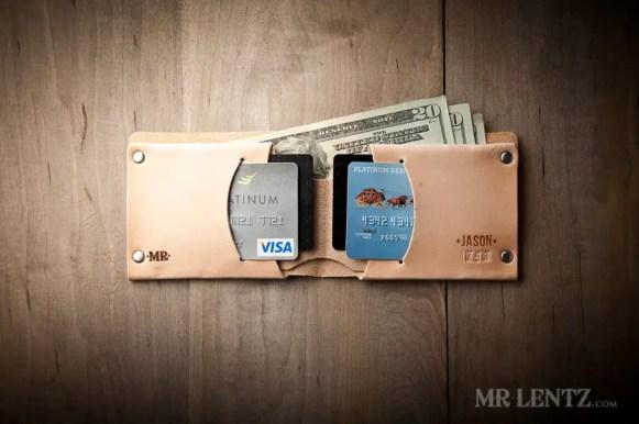 beige bifold wallet