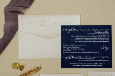blush and navy invitations